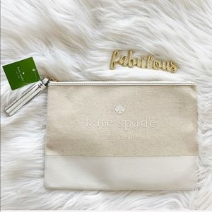 Kate Spade natural large tassel pouch /make up bag